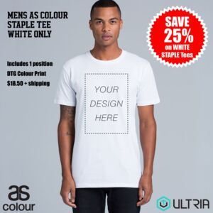 SPECIAL Mens Staple Tee - WHITE ONLY Score 25% off Mens White Staple Tee with a 1 position DTG print Thumbnail