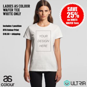 SPECIAL Ladies White Wafer Tee - WHITE ONLY Score 25% off Ladies White Wafer Tee with a 1 position D Thumbnail